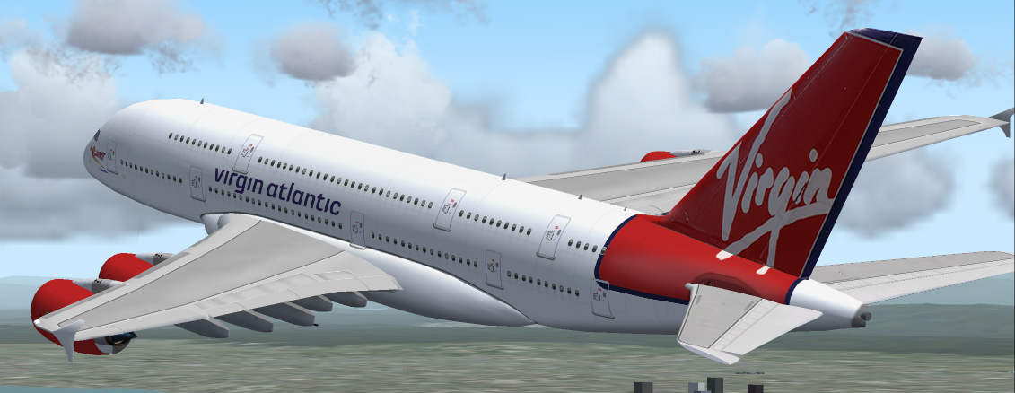 FS2004 airbus A380-800 Virgin Atlantic colors