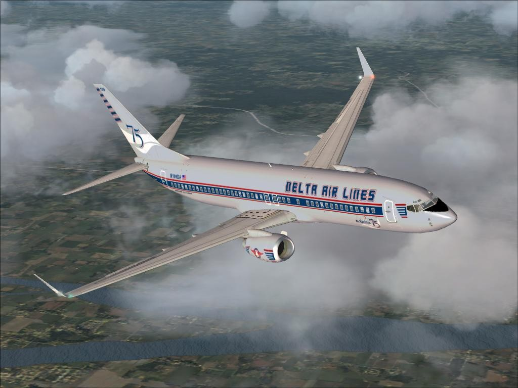 FSX Boeing 737-800 Delta Airlines 75 Years Textures