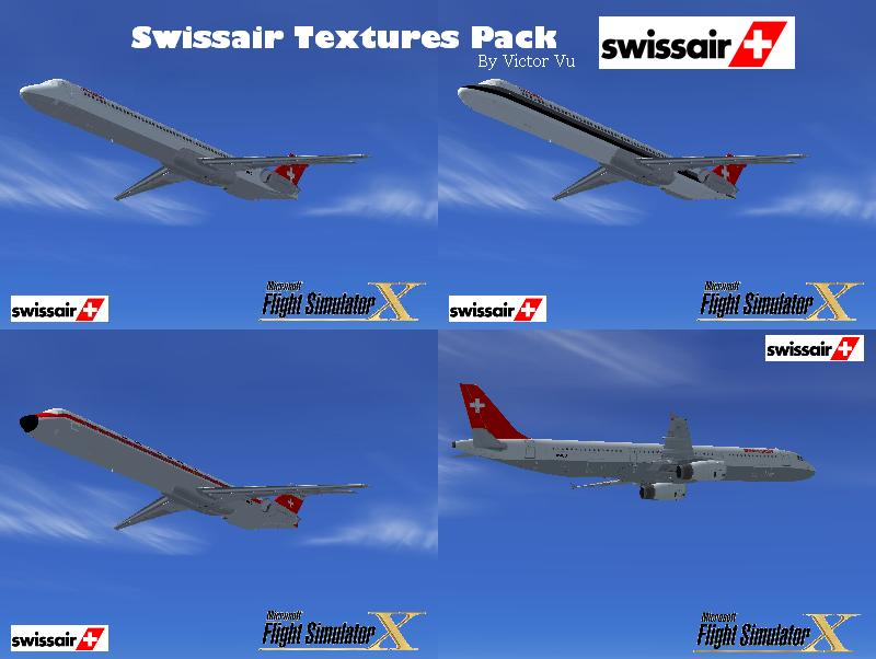 FSX Swissair Texture Pack for the A321 and MD-83